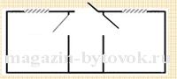 План к хозблоку с двумя перегородками.